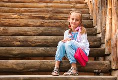 Girl with pigtails Royalty Free Stock Image
