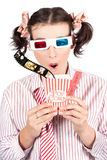 Girl In Pigtails Watching A 3D Comedy Movie Royalty Free Stock Photo