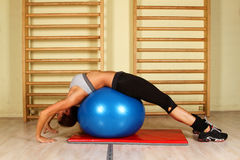 Girl with pilates ball Stock Photo