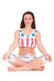 Girl pilatos yoga isolated on white background gym concept Stock Images