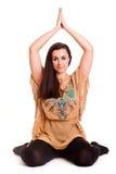 Girl pilatos yoga isolated on white background gym exercise Royalty Free Stock Photos