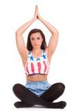 Girl pilatos yoga isolated on white background gym exercise Royalty Free Stock Photography