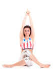 Girl pilatos yoga isolated on white background gym exercise Stock Photos