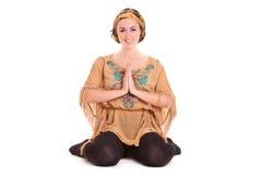 Girl pilatos yoga isolated on white background gym exercise Royalty Free Stock Photo