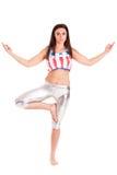 Girl pilatos yoga isolated on white background gym exercise Royalty Free Stock Images