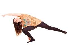 Girl pilatos yoga isolated on white background sport exercise Stock Photo