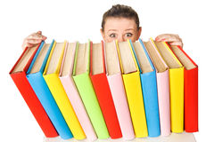 Girl with pile book Royalty Free Stock Photo