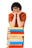 Girl with pile book showing thumb up. Royalty Free Stock Photos