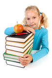 Girl with pile of books royalty free stock images