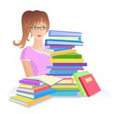 Girl with pile of books Royalty Free Stock Image
