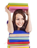 Girl with pile color book . Royalty Free Stock Photos