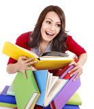 Girl with pile color book . Royalty Free Stock Image