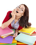Girl with pile color book . Stock Images