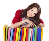 Girl with pile color book . Stock Photo