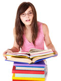 Girl with pile colored book . Stock Photo