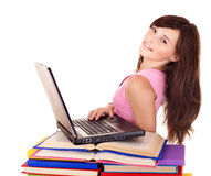 Girl with pile colored book . Stock Photography
