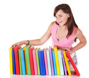Girl with pile colored book. Royalty Free Stock Images