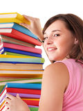 Girl with pile colored book. Royalty Free Stock Image