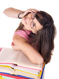 Girl with pile colored book . Royalty Free Stock Image