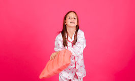 The girl with a pillow Royalty Free Stock Photography