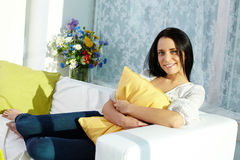 Girl with pillow Stock Image