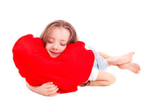 Girl with a pillow Stock Photography