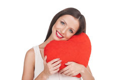 Girl with pillow. Royalty Free Stock Images
