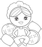 Girl with pillows coloring page. Useful as coloring book for kids Royalty Free Stock Photography