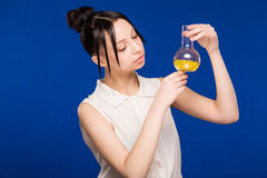 Girl with pills Stock Image