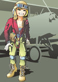 Girl-pilot Stock Image