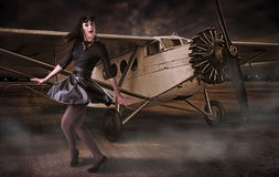 Girl pilot Stock Images