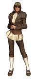 Girl in a pilot outfit. 3D render of a girl in a retro pilot costume stock illustration