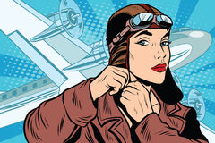 Girl pilot prepares for departure Stock Photography