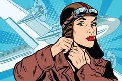 Girl pilot prepares for departure vector illustration