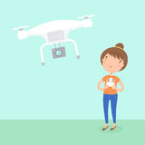 Girl piloted a drone. Royalty Free Stock Photo