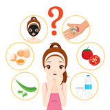 Girl With Pimples On Her Face And Skin Face Icons Set Royalty Free Stock Photo