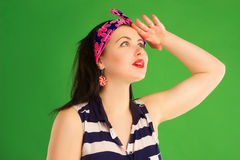 Girl pin-up looks in top Stock Photos