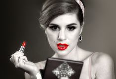 Girl in pin up retro style make make up. Stock Images