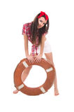Girl pin up style, with a lifebuoy Stock Photography