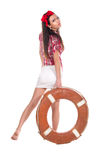 Girl pin up style, with a lifebuoy Royalty Free Stock Photo