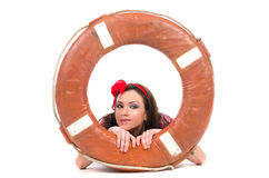 Girl pin up style, with a lifebuoy Royalty Free Stock Photography