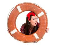 Girl pin up style, with a lifebuoy Stock Images