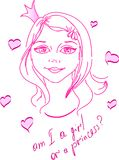 This is a girl pink. The kind girl have been drawing in lines Royalty Free Stock Images