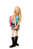 Girl with a pink backpack Royalty Free Stock Photo