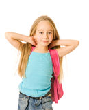 Girl with a pink backpack Royalty Free Stock Photography