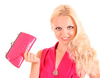 Girl in pink with bag Stock Images
