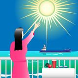 Girl in pink on the balcony waving a ship in the sea under the bright sun. Vector Illustration Royalty Free Stock Photos
