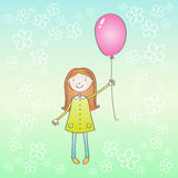 Girl with pink ballon. Cirl in green dress with red hair hold the pink ballon in the hand. She stand on the green-blue background with white flowers Stock Photography