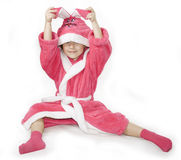 Girl and pink Bathrobe Royalty Free Stock Image