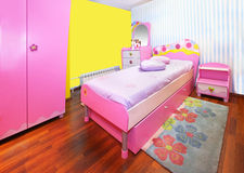 Girl pink bedroom royalty free stock photography